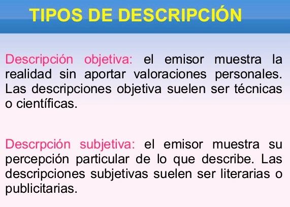 Tipos de descripción