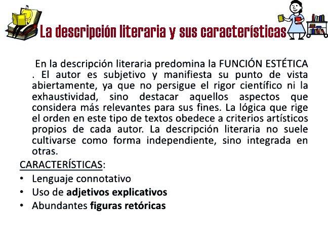 Descripción literaria y sus características