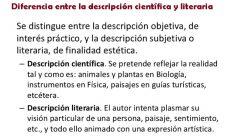 Diferencia entre la descripción científica y literaria