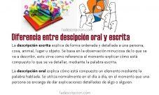 Diferencia entre descripción oral y escrita
